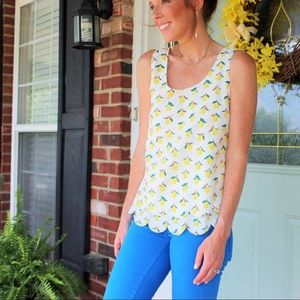 Lemon Scalloped Blouse